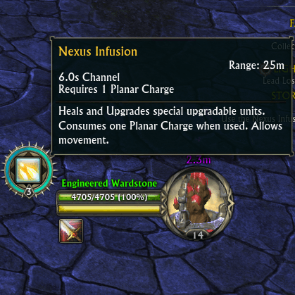 Nexus Infusion appears near the wardstones portrait - You can also find it in your ability book > Ascended Powers > Planar War