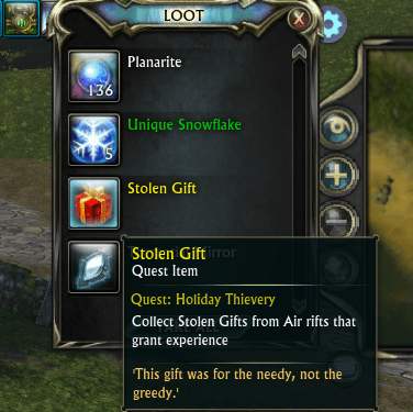 Stolen Gifts will appear in your Rift Loot bag once the rift is closed. You will need to be mentored when the rift closes!